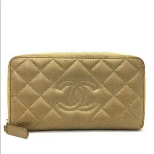 authentic CHANEL Quilted  CC Logo Lambskin Zip